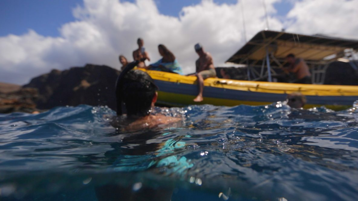 person gaining health benefits while snorkeling in Maui